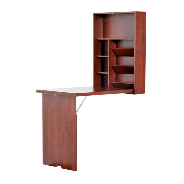 HomCom Compact Fold Out Wall Mounted Convertible Workstation Desk With Storage - Mahogany / Folding fold out wall mounted convertible desk Home Office | Aosom