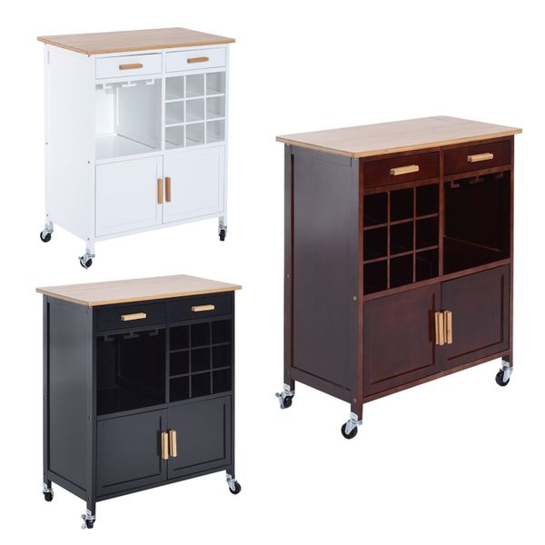 """HomCom 35"""" Rolling Kitchen Trolley Serving Cart with Wine Rack