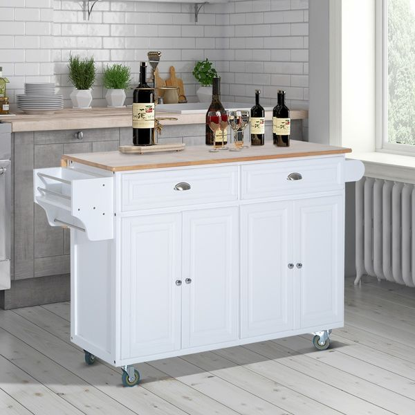 HOMCOM Wood Top Drop-Leaf Rolling Kitchen Island Table Cart on Wheels - White | Aosom