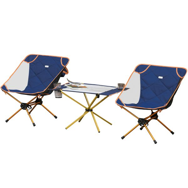 Outsunny Camping Table Set With 2 Chairs Lightweight Folding Table with Cup Holders & Carry Bag Perfect for Festivals, Garden, Trips, Fishing, Beach and w/ Holder | Aosom