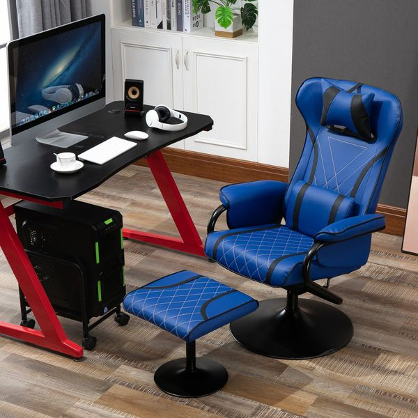 HOMCOM VINSETTO Racing Style Swiveling Recliner with Ottoman  Headrest  Lumbar Support  Ergonomic Faux Leather Gaming Chair with Metal Base  Blue/Black Set | Aosom