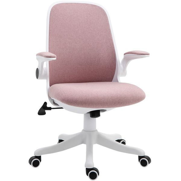 Vinsetto 360 Swivel Office Chair Breathable Fabric Computer Rocker With Liftable Armrest Home Office Pink