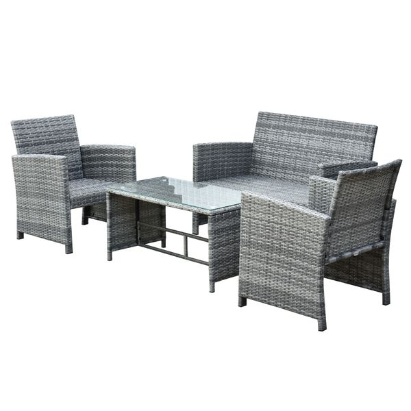 Outsunny 4-Piece Cushioned Outdoor Rattan Wicker Chair and Loveseat rattan sofa conversation set | Aosom