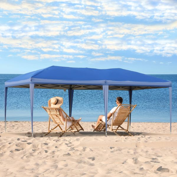 Outsunny Canopy Tent 10x20 Outdoor Gazebo Pop Up Party Tent with UV Sun-Resistant 2-Tier Roof & Portable Carry Bag - Blue | Aosom