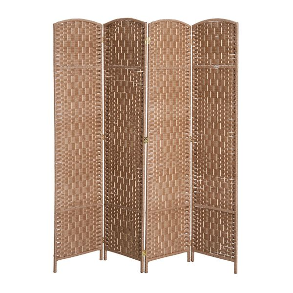Homcom Folding Room Divider Screen 6'Tall Wicker Weave Four Panel Room Divider Privacy Screen - Natural Blond Wood   Aosom