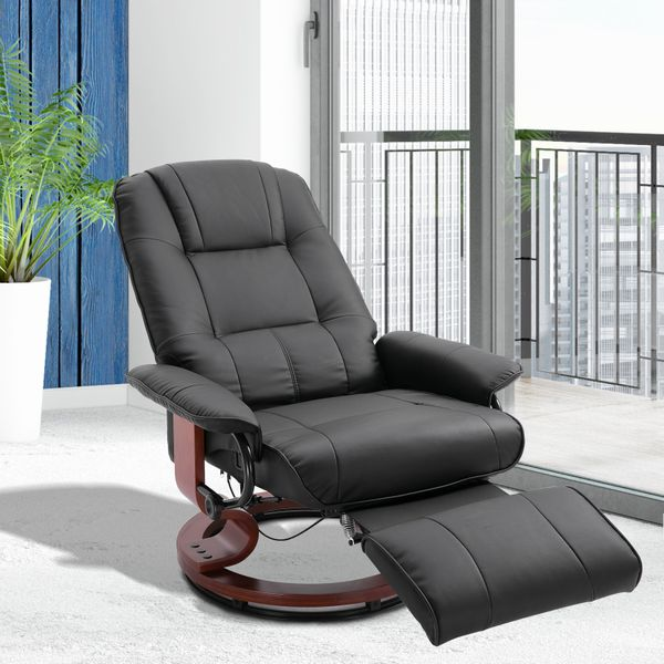 HOMCOM Faux Leather Adjustable Manual Traditional Swivel Base Recliner Chair with Footrest - Black | Aosom