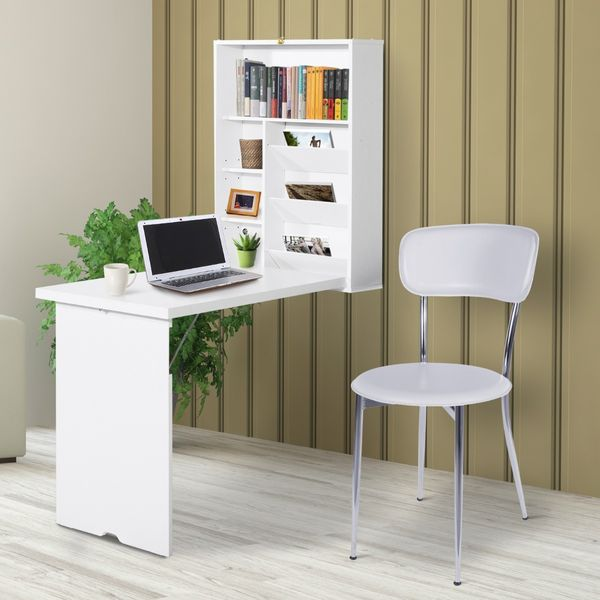 HomCom Wall Mounted Folding Table Wooden Fold Out Convertible Wall Mount Floating Desk Writing Tables & Bookshelves - White | Aosom