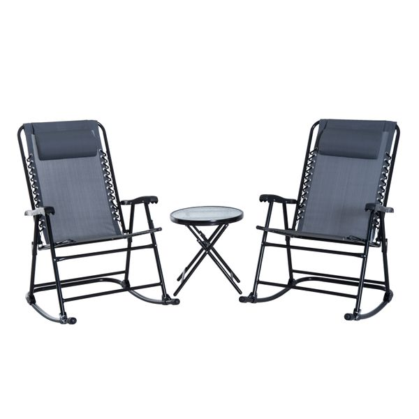 Outsunny 3 Piece Outdoor Folding Rocking Mesh Chair Patio Table Seating Set w/ Coffee Desk - Grey / folding rocking chair patio table set | Aosom
