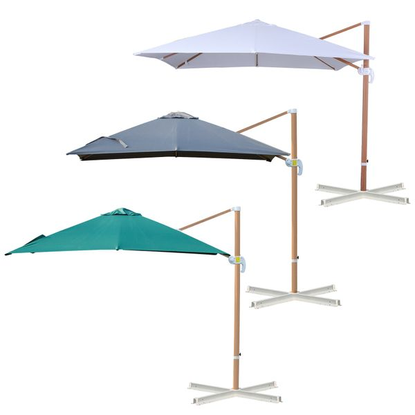 Outsunny 10ft x 10 ft Patio Offset Parasol Hanging Cantilever Umbrella with 360° Rotation & Adjustable Tilt 10'x10' Hang   Aosom