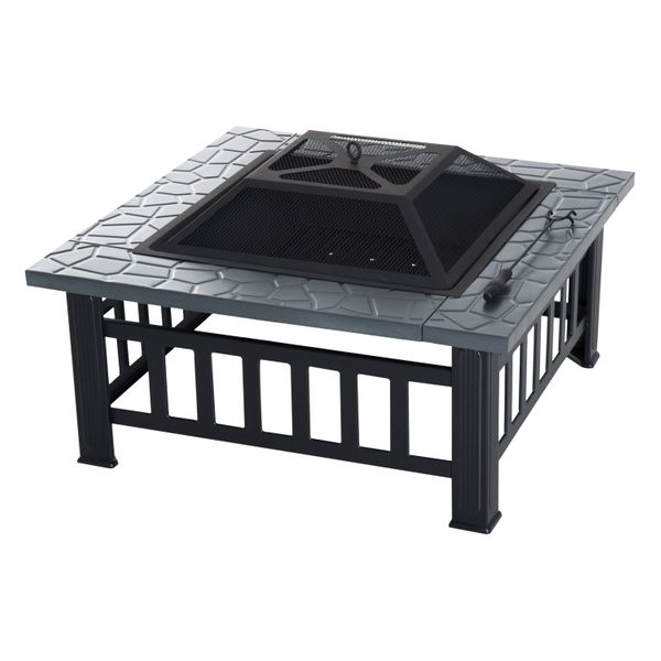 """Outsunny 32"""" Steel Square Outdoor Patio Wood Burning Fire Pit Table Top Set / Backyard steel square outdoor fire pit with Cover   Aosom"""