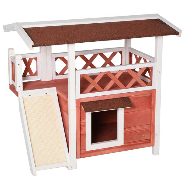 PawHut 2-Story Solid Wood Cat House Condo Shelter with Sisal Ramp Weatherproof for Indoor/Outdoor Use Red and White Outdoor Outdoor/Indoor | Aosom