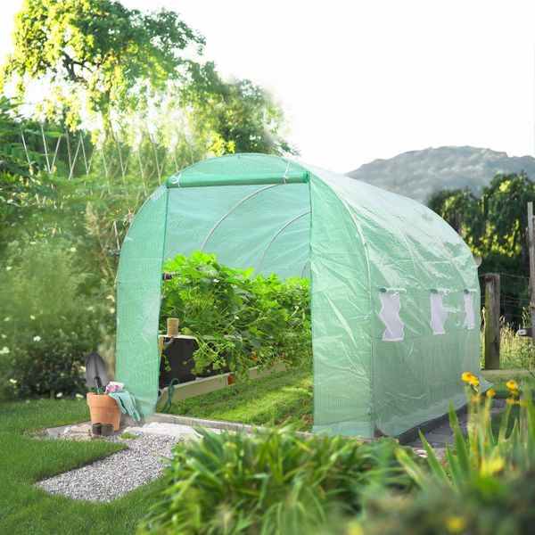 Outsunny 15' x 7' Outdoor Portable Walk-In Tunnel Greenhouse with Windows / 15'x7'x7' Gardening Plant Heavy Duty Large Spacious Greenhouse|Aosom.com