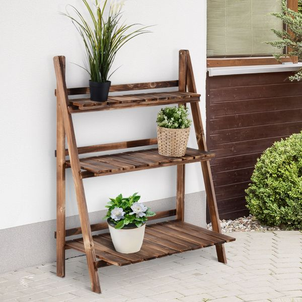 Outsunny Rustic Wooden 3-Tier Ladder Folding Raised Plant Stand | Aosom