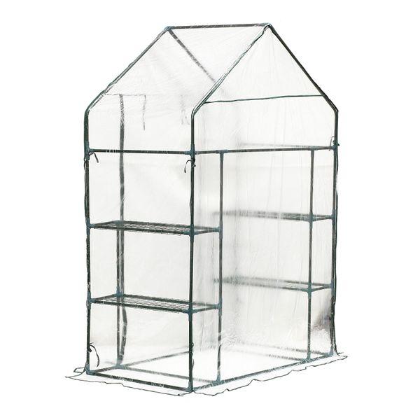 Outsunny 4 Shelves Outdoor Portable Walk-In Greenhouse Plant Flower Gardening wClear PE Cover  walk-in mini greenhouse with shelves|Aosom.com
