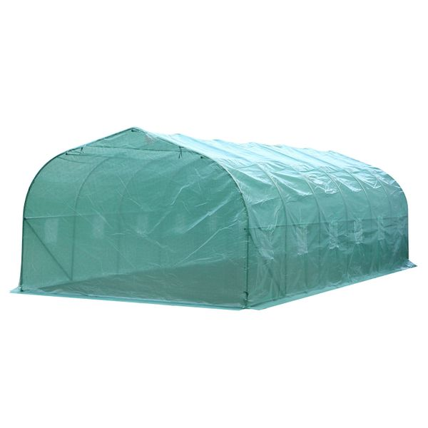 Outsunny 26.25' Outdoor Walk-In Greenhouse Extra Large Plant Gardening PE Cover - Green / Heavy Duty (Green) Hot Large Spacious Greenhouse   Aosom