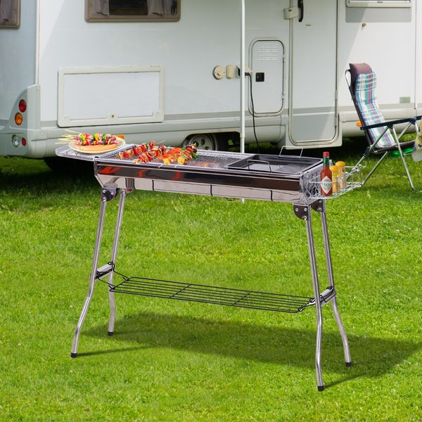 Outsunny Portable Folding Charcoal BBQ Grill Stainless Steel Camp Picnic Cooker   Aosom