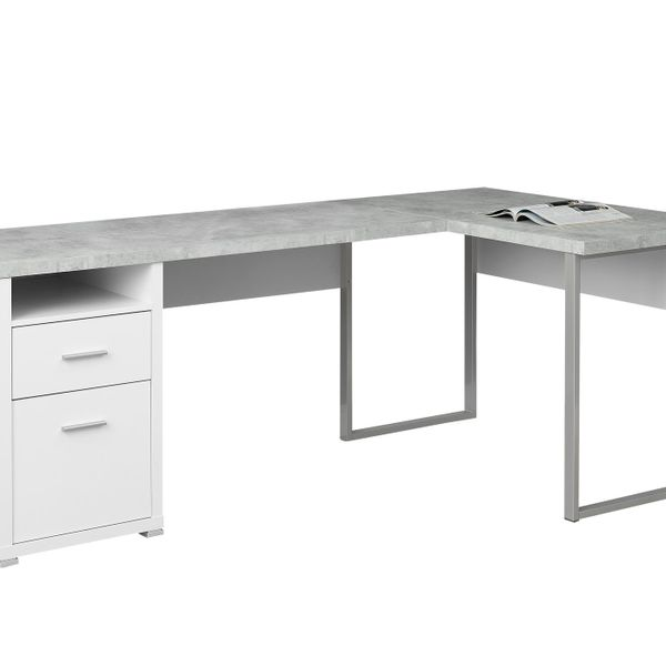 "Monarch 80"" L-Shaped Contemporary Cement-look Top Computer Desk - White / Grey Cement 