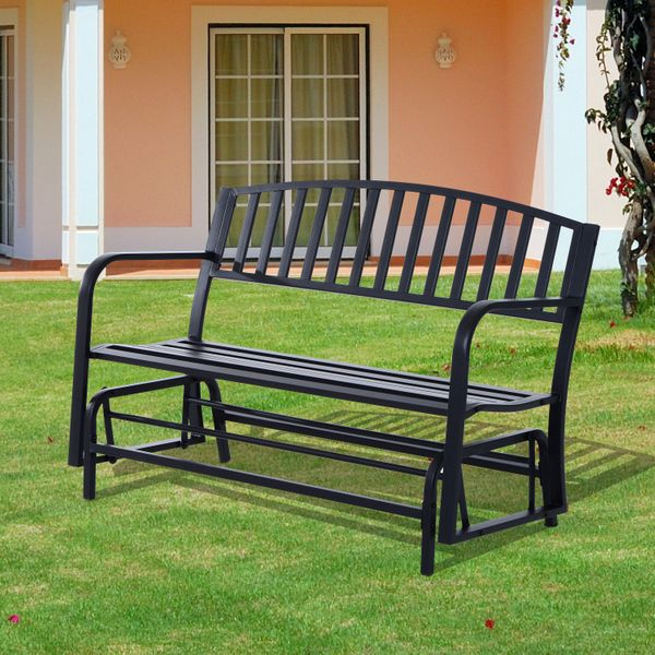 "Outsunny 50"" Outdoor Steel Patio Swing Glider Bench Loveseat - Black 