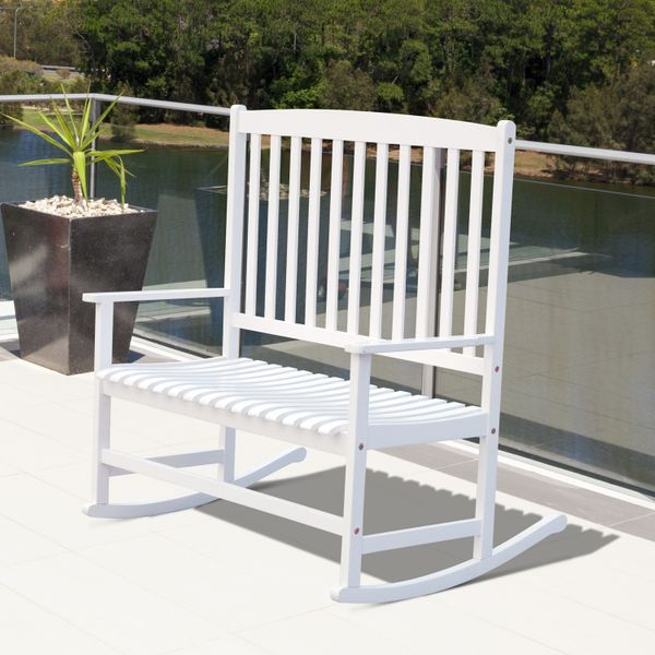"""Outsunny46""""Acacia Wood 2-Person Outdoor Porch Rocking ChairPatio FurnitureWith Armrest- White 