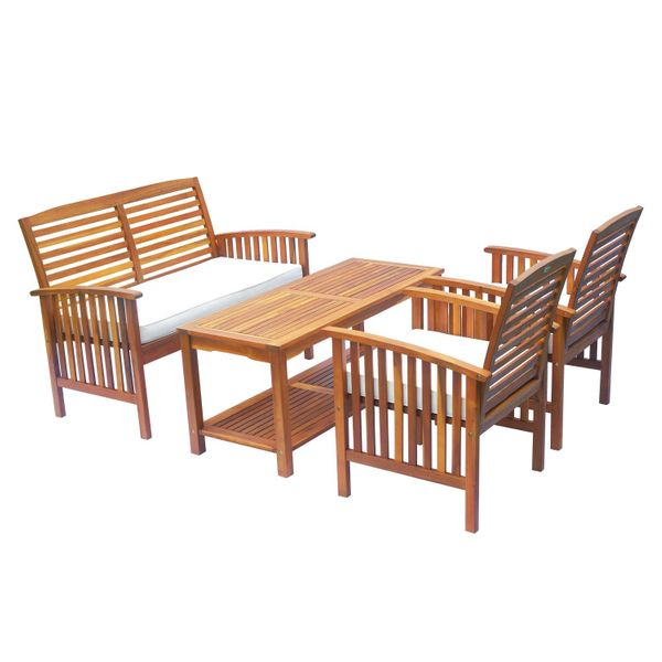 Outsunny 4 Piece Acacia Wood Outdoor Conversation Set Patio Furniture Loveseat w/ Cushion / outdoor acacia wood conversation set   Aosom
