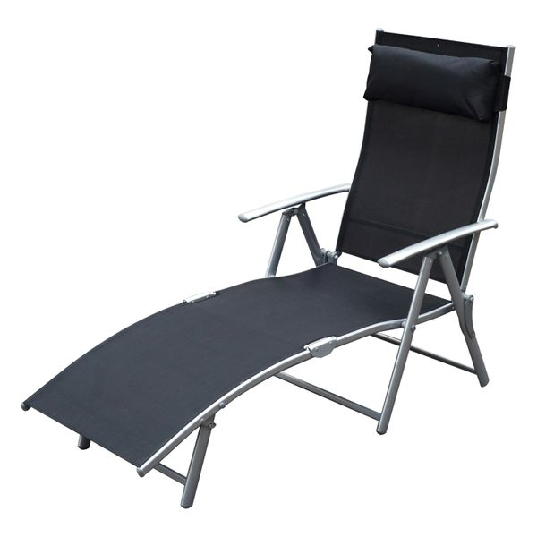 Outsunny Steel Sling Fabric Outdoor Folding Chaise Lounge Chair Recliner - Black | Aosom