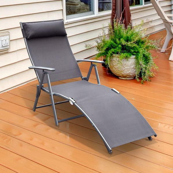 Outsunny Patio Reclining Chaise Lounge Chair with Cushion   Aosom