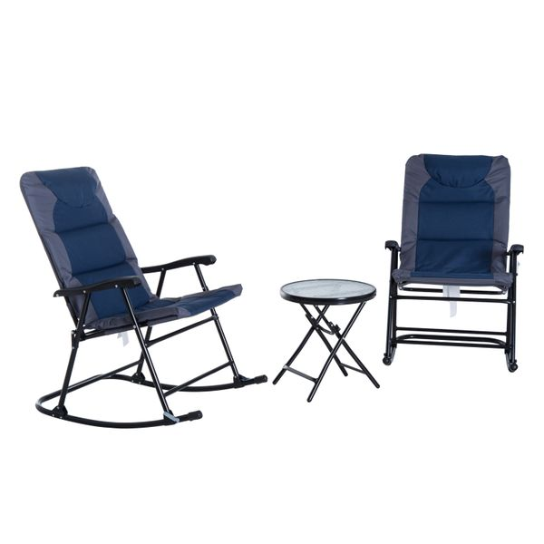 Outsunny 3 Piece Folding Outdoor Camping Rocking Chair Bistro Set - Blue and Grey rocking chair with table set | Aosom