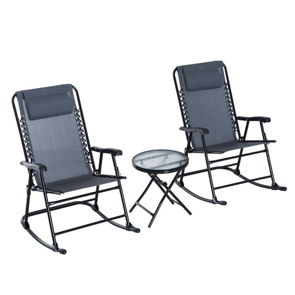 Outsunny 3 Piece Outdoor Folding Rocking Mesh Chair Patio Table Seating Set w/ Coffee Desk - Grey / folding rocking chair patio table set   Aosom