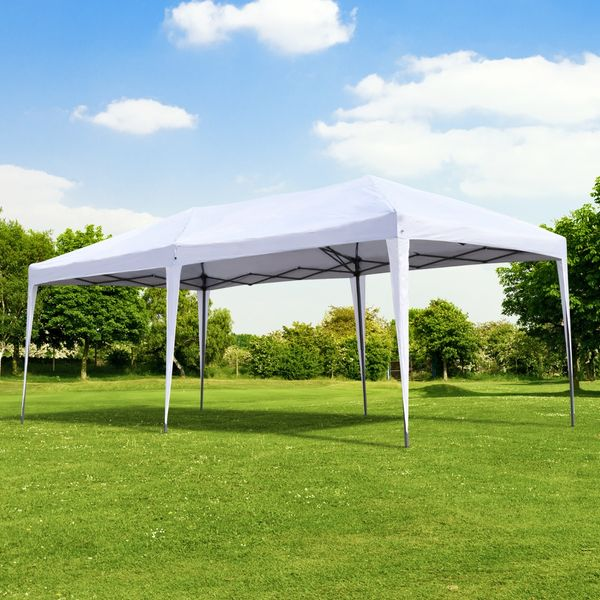 Outsunny 10x20 Pop Up Canopy Outdoor Gazebo Party Tent with UV Sun-Resistant 2-Tier Roof & Portable Carry Bag - White | Aosom