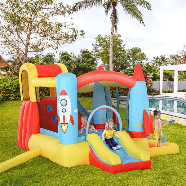 Outsunny Kids Bounce Castle House Inflatable Trampoline Slide Water Pool 3 in 1 with Inflator for Kids Age 3-12 Rocket Design 11.14' x 9.18' x 6.06' w/ Carrybag and | Aosom