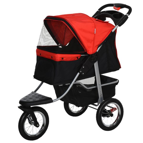 PawHut Luxury Folding Pet Stroller Dog/Cat Travel Carriage with Wheels Adjustable Canopy Zippered Mesh Window Door Red and Black| Aosom