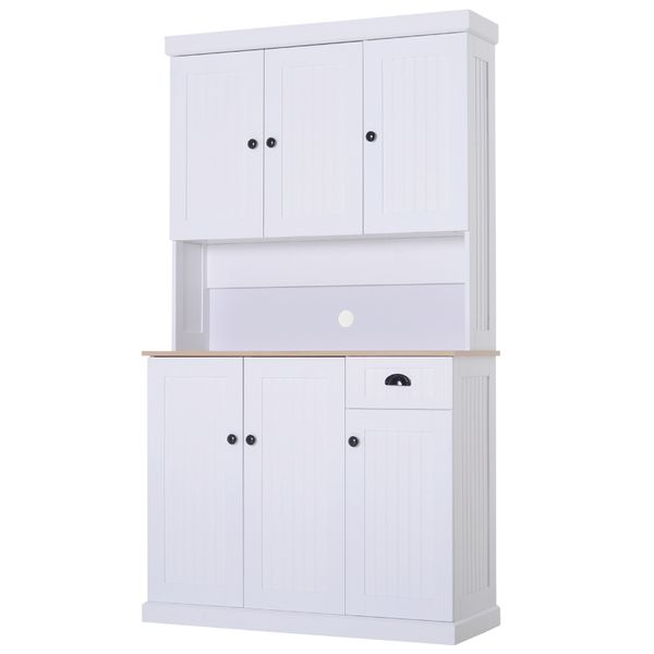 "HOMCOM 71"" Wood Kitchen Microwave China Cabinet with Storage - White/Oak Grain