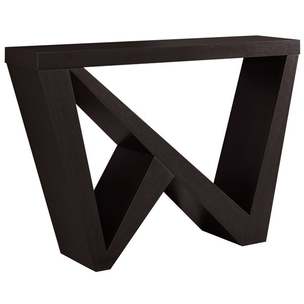 "Monarch 48"" Edgy Modern Wood Grain-Look Angular Asymmetrical Base Accent Console Table - Cappuccino Brown Finish 