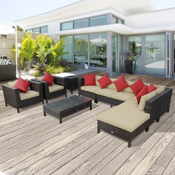 Outsunny 9 Piece Rattan Sectional Wicker Patio Sofa Set Outdoor Seating Furniture|AOSOM.COM