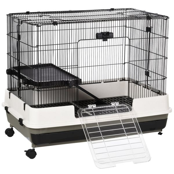 PawHut Compact Platform Rolling Small Animal Rabbit Cage for Hamsters Chinchillas & Gerbils with a Large Living Space Easy   Aosom