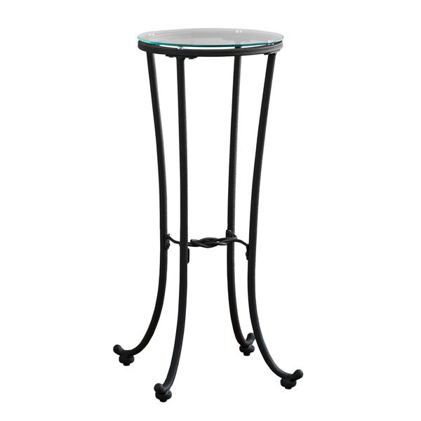 """Monarch 28"""" Contemporary Tempered Glass Top Metal Frame Plant Stand Accent Side Table - Black Finish 