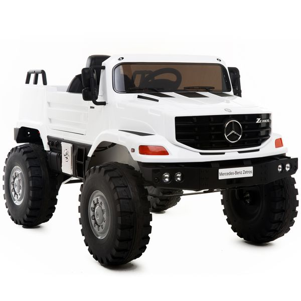 Aosom 12V Mercedes-Benz Zetros Kids Ride On Car Off Road Truck with Remote Control - White|AOSOM.COM