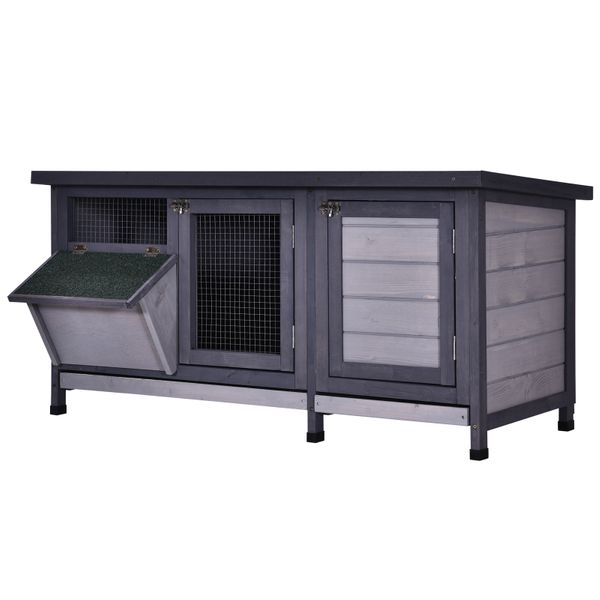PawHut Wooden Outdoor Bunny Rabbit Hutch with 2 Large Customizable Run Areas and a Cozy Main House  Feeding Trough  Grey Deluxe Feed | Aosom