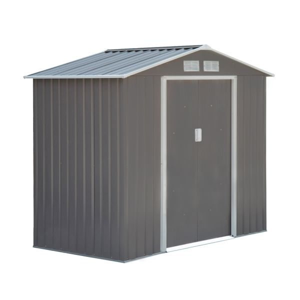 Outsunny 7' x 4' Outdoor Metal Garden Storage Shed - Gray/White Sturdy Outdoor Storage|aosom.com