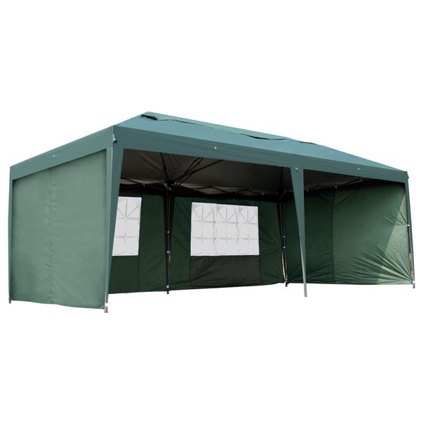 Outsunny 10' x 20' Outdoor Gazebo Canopy Party Wedding Party Tent with 4 Removable Sidewalls - Green