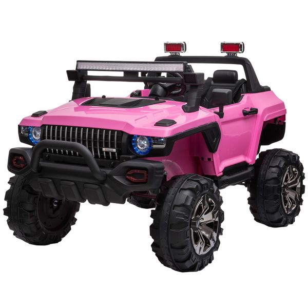 Aosom Kids 12v Rc 2 Seater Ride On Off Road Vehicle Truck Led Lights Mp3 Pink Kids Ride On Toys Aosom