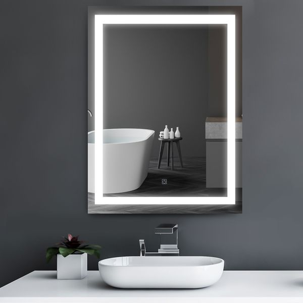 "HOMCOM Vertical 36"" LED Illuminated Bathroom Wall Mirror With Defogger - Outline LEDs 