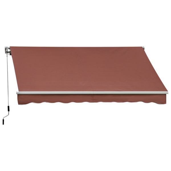 Outsunny 10' X 8' Manual Retractable Sun Shade Patio Awning - Coffee Brown|AOSOM.COM