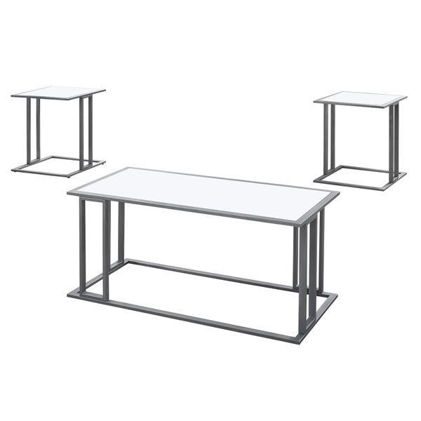 Monarch 3 Piece Modern Minimalist Smooth Laminate Coffee Table / Two Matching End Tables Set - White / Silver Metal | Aosom