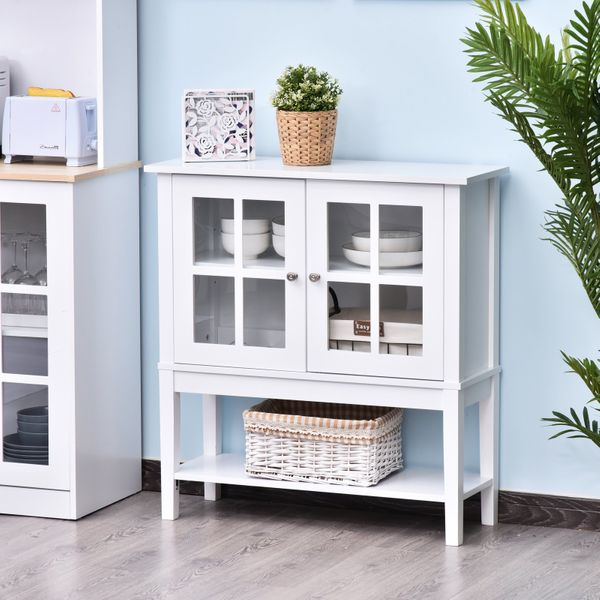 Homcom Buffet Sideboard Modern Kitchen Credenza Sideboard Buffet Cabinet With 2 Swinging Glass Doors Ample Storage Space White Pantry Buffet Aosom