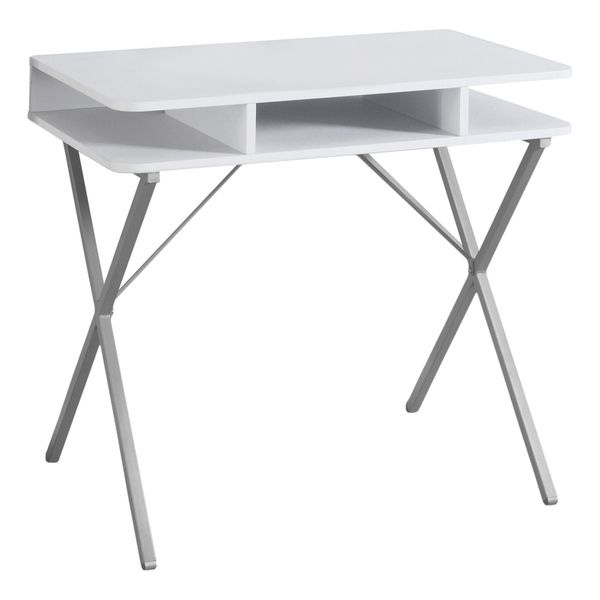 """Monarch 31"""" Contemporary Compact Computer Desk with Metal Legs and Storage Cubbies - White / Silver Metal 