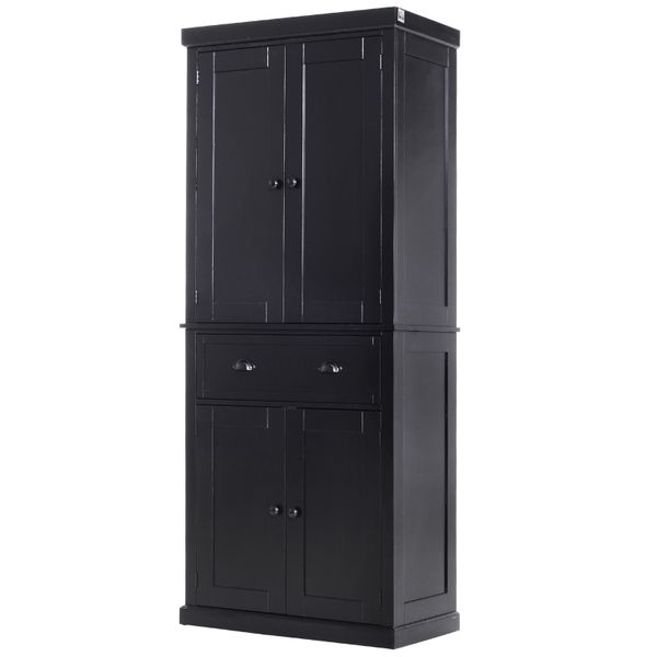"""Homcom Free Standing Kitchen Pantry 72"""" Traditional Colonial Freestanding Kitchen / Bathroom Storage Pantry With 1 Center Drawer And 2 Cabinets - Black   Aosom"""