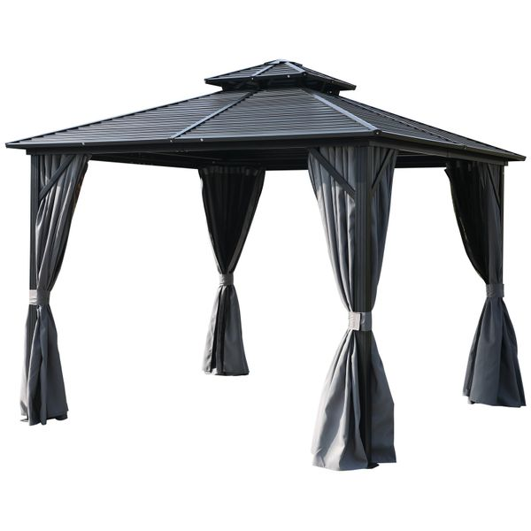 Outsunny 10'x 10' 2-Tier Roof Steel Hardtop Aluminum Permanent Gazebo with a Mesh Net and Privacy Sidewalls   Aosom