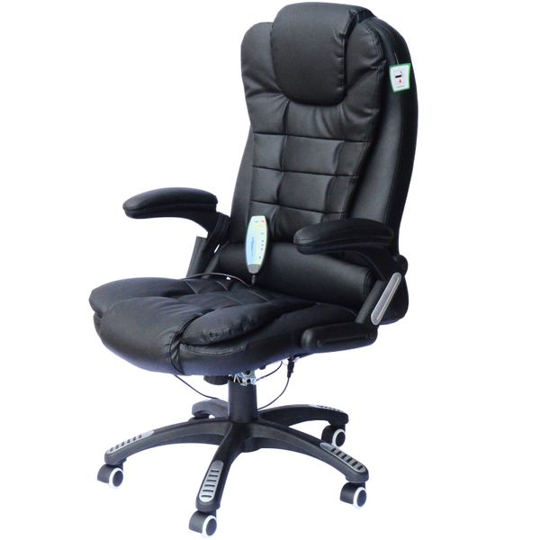 HomCom Executive Ergonomic Heated Vibrating Computer Desk Office Massage Chair - Black | Aosom