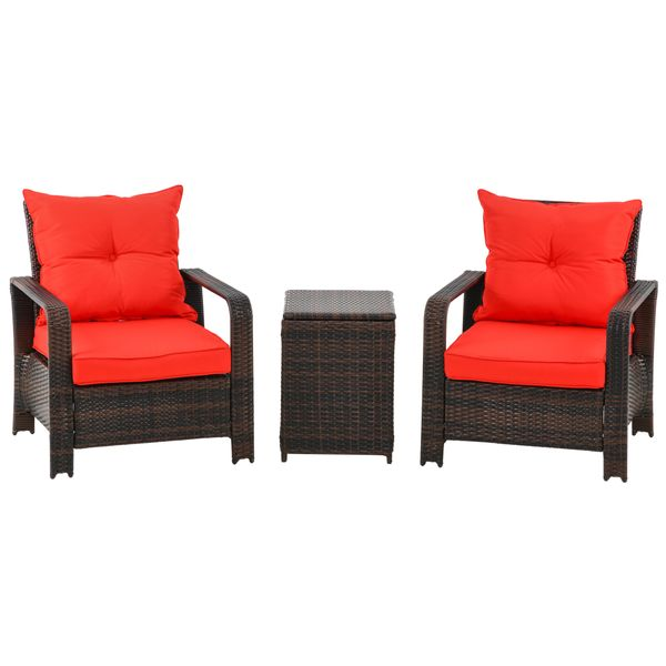 Outsunny 3 Piece PE Rattan Patio Chairs Porch Furniture Set with 2 Chairs Padded Seats & 1 Side Table with Storage, Red Sofa | Aosom